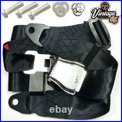 Classic Austin Mini Chrome Buckle 3 Point Adjustable Static Seat Belt Kit Black
