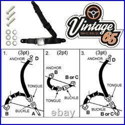 Classic Car 3 Point Chrome Buckle Lap Seat Belt Adjustable Front or Rear Black