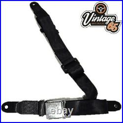 Classic Car 3 Point Chrome Buckle Lap Seat Belt Adjustable Front or Rear Grey