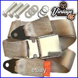 Classic Car Beige 3 Point Chrome Buckle Lap Seat Belt Adjustable Front Rear