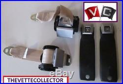 Corvette 78-82 Seat Belt Set 79 80 81 GM Buckle Doeskin / Beige Seatbelt Tan