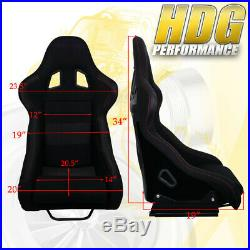 Driver+Passenger Jdm Black Bucket Racing Seat 2X 5 Point Seatbelt Harness Set