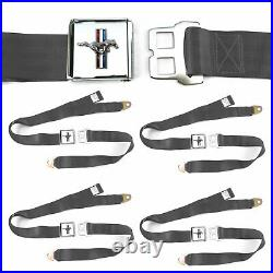 Ford Mustang GT Charcoal Lap Seat Belt Buckle fits Bug Ghia Set of Four shelby
