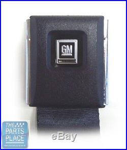 GM Front Seat Belt Set With Retractors Navy Texture Buckle Black Emb 103FBLK