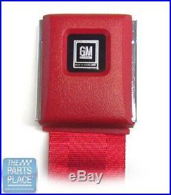 GM Front Seat Belt Set With Retractors Red Texture Buckle Black Emb 104FBLK