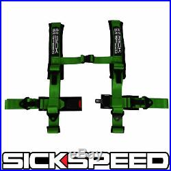 Green 4 Point 2 Nylon Racing Harness Shoulder Pad Safety Seat Belt Buckle