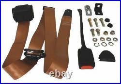 KARMANN GHIA Seat Belt, Front 3pt Inertia Modern Buckle Stalk Tan