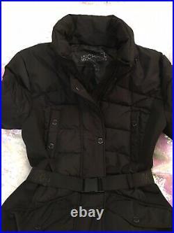 Michael Kors Black Seat Belt Buckle Puffer Coat W Removable Hood NWT Medium