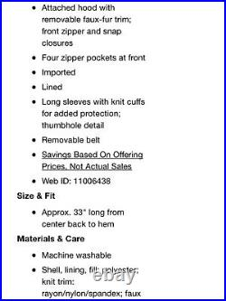 Michael Kors Seat Belt Buckle Black Puffer Coat Womens Large NWT