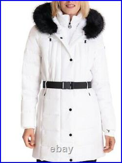 Michael Kors Seat Belt Buckle White Puffer Coat Womens Medium NWT