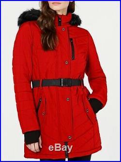 Michael Kors Womens Red Seat Belt Puffer Coat NWT Size Large LAST ONE