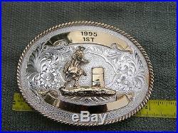 Montana Silversmiths BELT BUCKLE BARREL RACING RODEO 1995 1st place silver plat