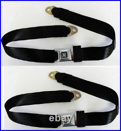 New! Black Seat Belts GM logo Metal Buckle 60 Long OE Style Lap Stainless Pair