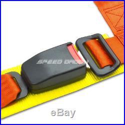Pair Universal 4-pt 2 Strap Drift Racing Safety Seat Belt Buckle Harness Orange