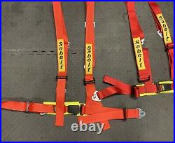 Pair Sabelt 4 Point Harnesses Red Seat Belt Buckle