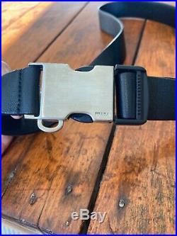 Prada Mens Soft Black Leather Silver Hardware Buckle Adjustable 90/36 Seat Belt
