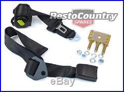 Rear Inertia Seat Belt PAIR Under Parcel Shelf Mount BLACK Adj Webb Buckle stalk
