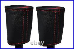Red Stich 2x Front Seat Belt Buckle Leather Covers For Holden Commodore Vr Vs