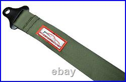 Two Point Seat Belt Latch & Link Buckle All Black Hardware Military Green