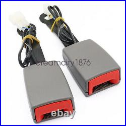 Universal Grey Car Front Seat Belt Buckle Socket Plug Connector & Warning Cable