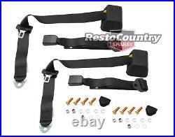 Universal Inertia Seat Belt PAIR Top Rear Parcel Shelf Mount ADJ Webb Buckle