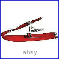 VW Type 1 Static 3 Point Front Seat Belt With Chrome Buckle Red
