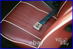 VW Volkswagen Wolfsburg 3 point Seat Belt Chrome Buckle Brown Bug Ghia Pair