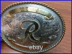 Vintage 1990 Montana Silversmiths Belt Buckle Rainer (Beer) Open 1st Place Men R