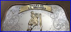 Vtg Valley Co Rodeo Star Idaho LIL Britches Girls First Place Trophy Belt Buckle