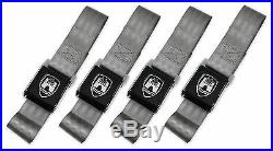 Vw Wolfsburg 2 Point Black Buckle Grey Lap Seat Belt Set Type 1 2 3 Bug Bus Ghia