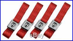 Vw Wolfsburg 2 Point Chrome Buckle Red Lap Seat Belt Set Type 1 2 3 Bug Bus Ghia